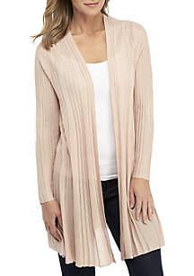 New Directions® Long Sleeve Lurex Pleat Cardigan