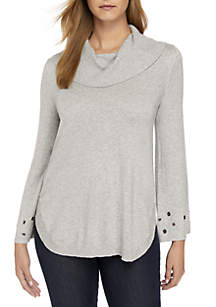 Long Sleeve Grommet Cowl Heather Sweater