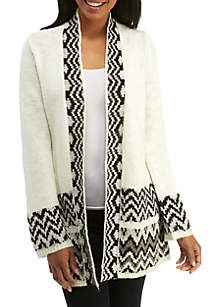 New Directions® Long Sleeve Jacquard Knit Cardigan