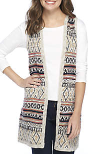 Long Jacquard Cardigan Vest
