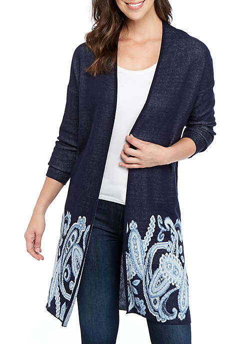 New Directions® Long Sleeve Mixed Jacquard Cardigan
