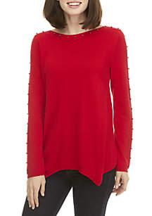 Long Sleeve Beaded Hanky Hem Sweater