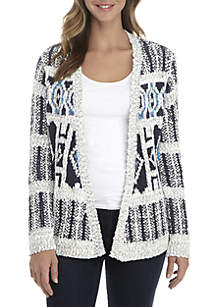Petite Long Sleeve Jacquard Cardigan