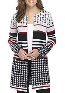 Petite Long Sleeve Jacquard Mixed Print Cardigan