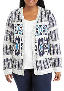 Plus Size Long Sleeve Jacquard Cardigan