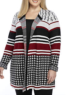 Plus Size Houndstooth Cardigan