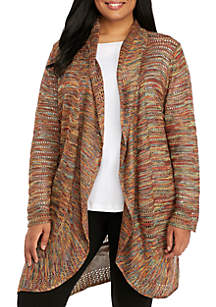 Plus Size Long Sleeve Multi Colored Cardigan