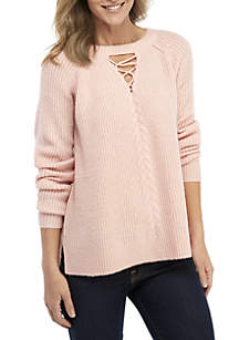 Long Sleeve Lace-Up Neck Marled Sweater