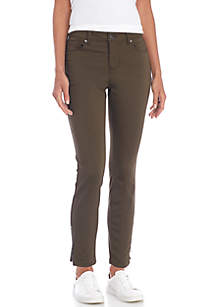 Sateen Pants With Zipper Details