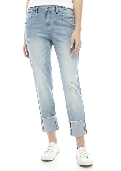 High Cuff Straight Leg Jeans
