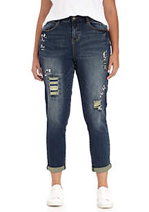 Plus Size Embellished Destructed Denim Jeans