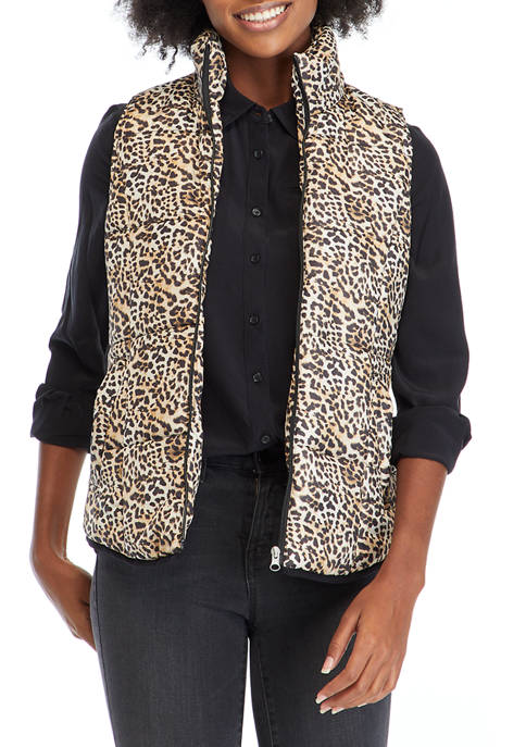New Directions® Womens Printed Puffer Vest
