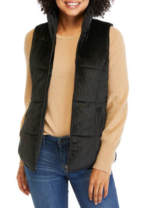 Womens Velvet Puffer Vest
