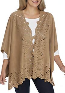 Petite Short Sleeve Laser Cut Kimono