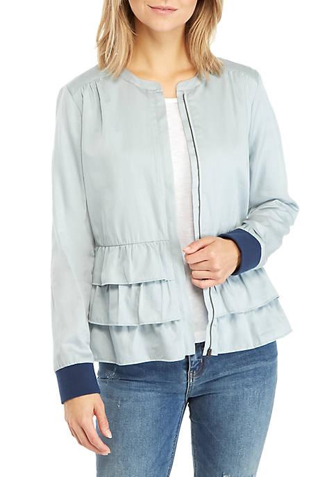 Kaari Blue™ Tiered Peplum Satin Jacket
