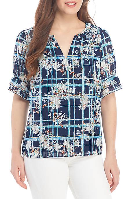 Kaari Blue™ Short Sleeve Floral Peasant Top