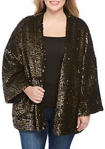 Plus Size Sequin Kimono