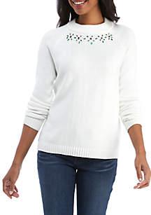 Crown & Ivy™ Embellished Mock Neck Sweater