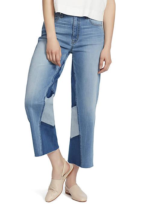 Pieced Crop Wide Leg Jeans