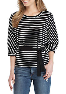 Elbow Sleeve Striped Tie Front Top
