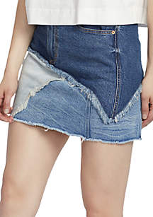 High Waist Pieced Denim Skirt