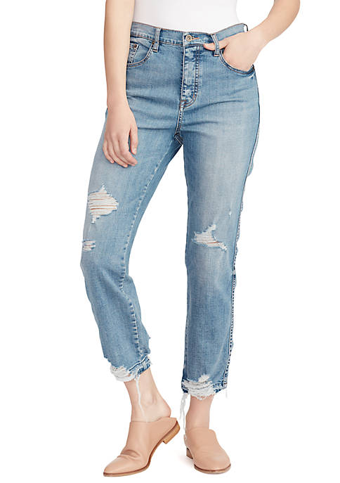 High Waist Straight Ankle Destroyed Jeans