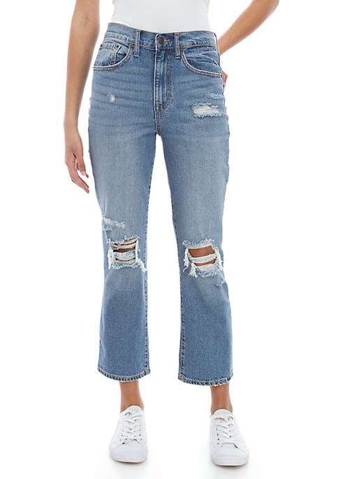 Ella Moss Cropped Flare Destroyed Jeans