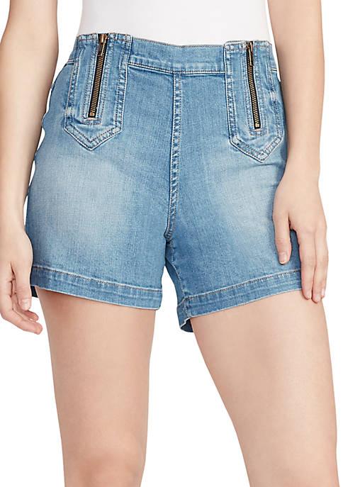 Ella Moss Retro Zip Front Jean Shorts