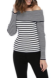 7a0b380dfdc92d Madison High Low Cardigan · Ella Moss Charlotte Off the Shoulder Stripe  Sweater
