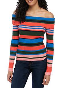 Ella Moss Charlotte Off the Shoulder Stripe Sweater