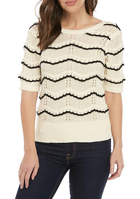 Ella Moss Nina Short Sleeve Textured Stripe Sweater