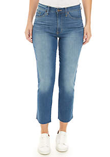 High Rise Straight Ankle Jeans