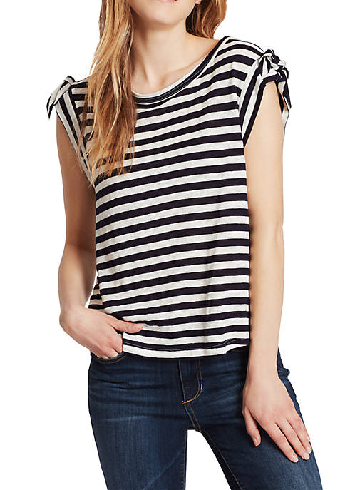 Ella Moss Betty Tie Shoulder Striped Top