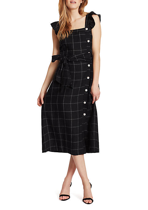 Stacy Linen Grid Dress