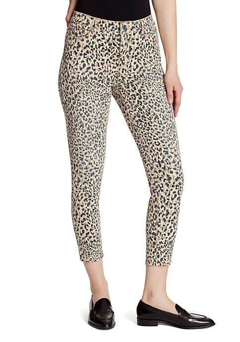 High Rise Cheetah Skinny Ankle Jeans