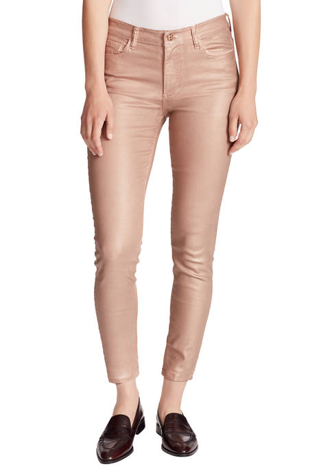 Mid Rise Skinny Coated Jeans