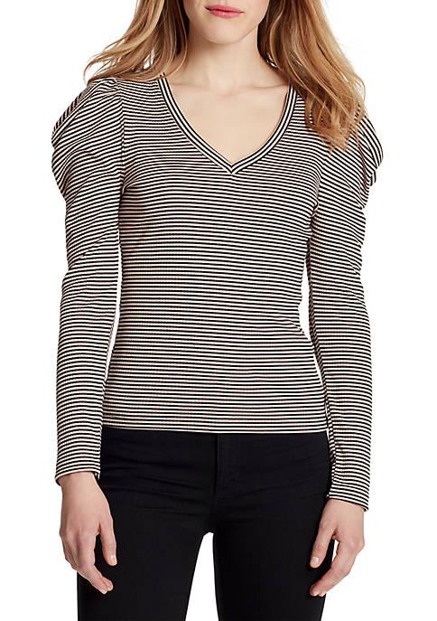 Sandy Long Puff Sleeve Striped Top