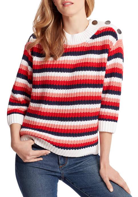 Ella Moss Womens Romi Stripe Shoulder Buttoned Sweater