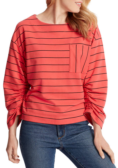 Ella Moss Womens Reese Striped Pocket Top
