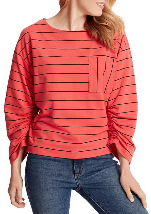 Ella Moss Womens Reese Striped Pocket Top