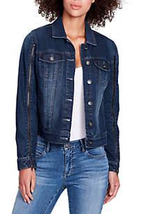 Denim Jacket with Zip Sleeves