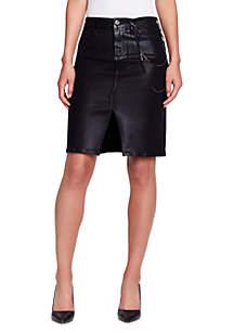 Coated Knit Denim Skirt
