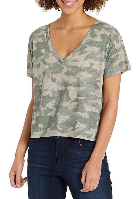 Dahlia Short Sleeve Camo Print V Neck Top