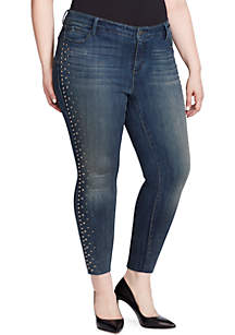 Plus Size Studded Skinny Ankle Jeans