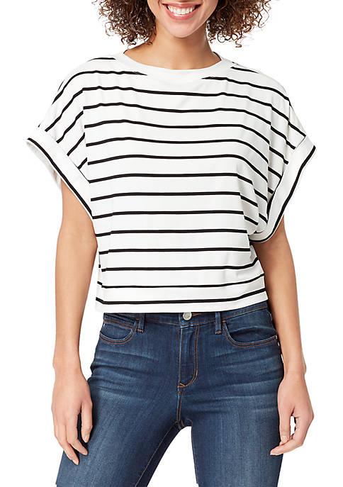 Abigail Stripe Short Sleeve Boat Neck Top
