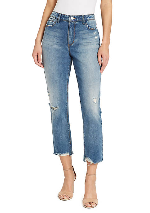 Skinny Girl High Rise Straight Crop Destroyed Jeans