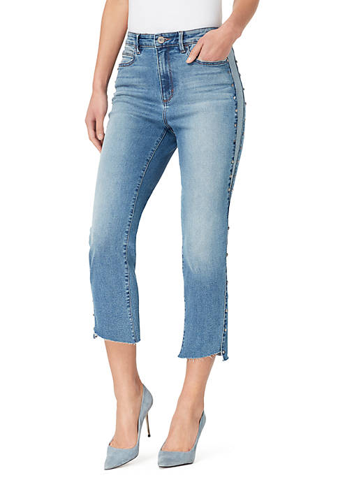 High Rise Cropped Jeans with Studs