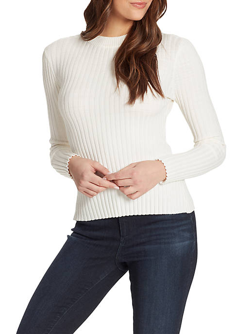 Claudia Long Sleeve Rib Knit Open Back Pullover