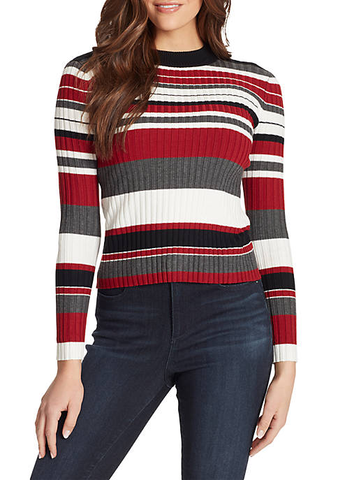 Claudia Long Sleeve Rib Knit Open Back Pullover