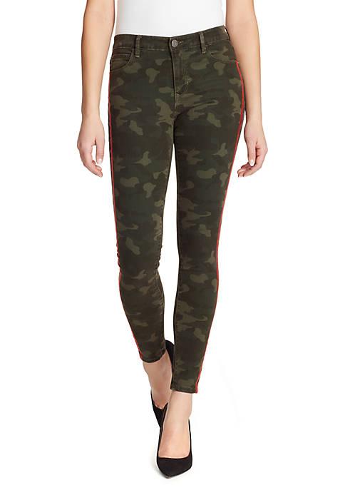 Skinny Fit Side Stripe Camo Jeans